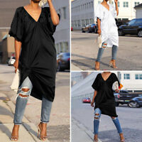 VONDA Womens Puff Sleeve Loose Long T Shirt Top Tunic Plunging Neck Midi Dress