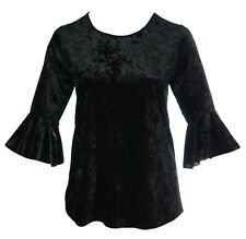 Womens Size 16-26 Gothic Flared Cuff Crush Velvet Tunic Top Ladies New