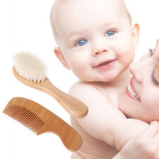 1 Set Baby Brush Comb Hair Head Massage Wooden Handle Wool Newborn Kids Care Kit