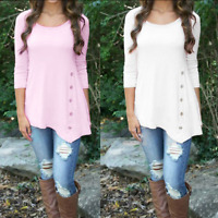 Women Lady Long Sleeve Loose Trim Blouse Tops Casual Round Neck Tunic T-Shirt