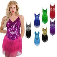 Women Ballroom Latin Rhythm Salsa Competition Dance Sequin Fringe Rumba Dress