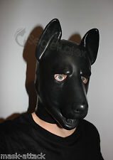 LATEX RUBBER BLACK GUMMI FETISH DOG FULL HEAD HOOD PUPPY CANINE ANIMAL PET MASK