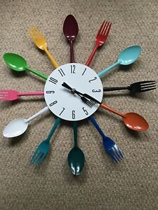 Modern Large Cutlery Wall Clock Fork and Spoon Kitchen Home Decoration Gift
