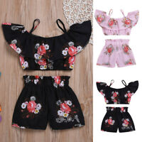 2Pcs Toddler Kids Baby Girls Floral Strap Tops T-Shirt+Shorts Outfit Set Clothes