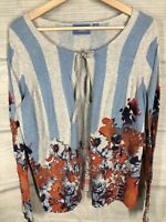 Simply Vera Wang Large Cardigan Sweater Blue Striped Floral Print Lightweight