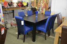 Black Ash Dining Table & 6 Bright Blue Leather Look Chairs Modern Dining Set