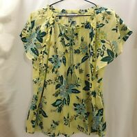 PER UNA Pure Cotton Printed Short Sleeve BlouseYellow Green Size 14