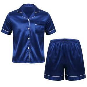 Mens Soft Satin Pajamas Set Loungewear Short Sleeves Tops Boxer Shorts Sleepwear