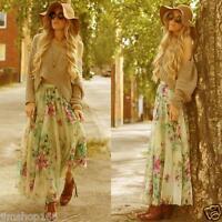 Hot Women Chiffon Pleated Summer Long Maxi Dress Elastic Waist Skirt Beach Dress