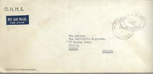 OHMS NORFOLK ISLAND OFFICIAL POST CANCEL ON TYPED COVER TO GB 1962 REF 3415
