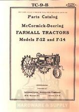 Farmall F12 F14 Printed Parts Catalog Manual F-12 F-14