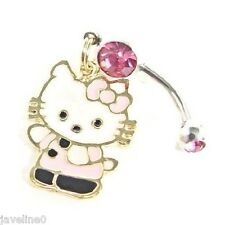 Piercing Bijoux Nombril OR Jaune gf 18 CT Cristal Rose Hello Kitty Rose AC 50