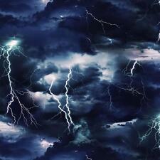 1 Yard Landscape Medley Lightning Bolt Thunder Storm Black Fabric #7104