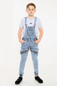 High Fashion New Boys Kids Children Dungaree Biker Jumpsuit overall Jeans Denim