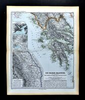 1892 Stieler Map Greece Balkans Romania Constantinople Athens Plans Macedonia
