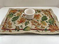"Set of 4 Tapestry Thanksgiving Placemats Fall Leaf Harvest Orange Cram Green 17"""
