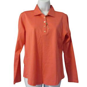 Peter Millar NWOT Long Sleeve Polo Coral SZ Shirt Golf SZ Small