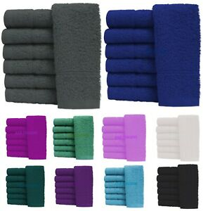 6X Guest Towels 100% Egyptian Cotton 600 GSM Soft Fluffy Quick Dry 10 Colours
