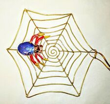 Blue Purple Spider In Web Halloween Cloisonne With Ornament Halloween 56721