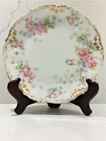 Antique Elite Works SM Limoges France Bawo Dotter Floral Gold Trim Plate 8""