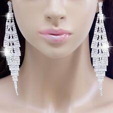 #E121T NEW 12.8cm LONG CLIP ON Clear Crystal Chandelier Earrings Silver Plated