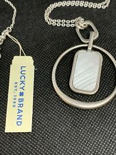 Lucky BRAND Silver-tone Mother-of Pearl Reversible Hoop Pendant Necklace