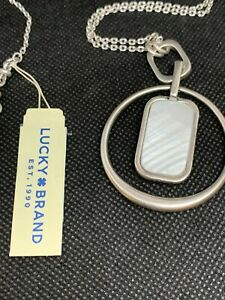 LUCKY BRAND Silver-Tone Mother-of Pearl Reversible Hoop Pendant Necklace NWT $45