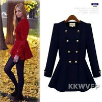 European Womens Long Sleeve Winter Double Breasted Dress Jacket Coat Trench SML