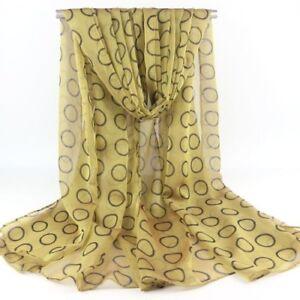 Golden Loop Print Lady Women Face Cover Wrap Silk Chiffon Scarf