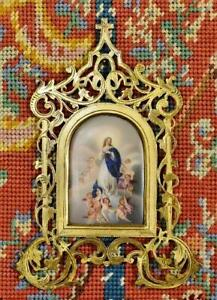 Divine Antique French Religious Brass Frame With Murillo's Immaculate Conception