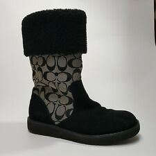 Coach Kally Womens Boots Signature C Black Suede Leather Snow Boots Sz 8 B