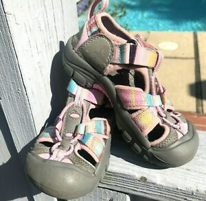 KEEN Toddler Girl 10 PINK STRIPE Athletic Trail Water Closed Toe Sandals