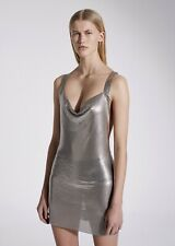 New $2100 Fannie Schiavoni Hailey Silver Chain mail Mesh Mini Dress Small