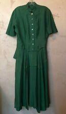 Vintage Handmade 1950's Stunning Green Silk Dress Medium Good Condition