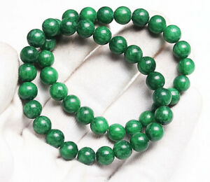 8mm 2pcs Natural hetian Jade Green Gemstone Beads Bracelet