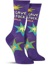 Azul Q Women's Crew Calcetines - i Gave a Fu @ k,Once - Novedad Adulto Regalo