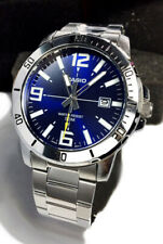 Casio Mtp-vd01d-2b Men's Stainless Steel Watch Blue Date Dial 50m WR Model