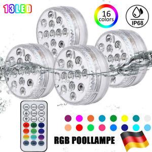 13 LED Poolbeleuchtung ;RGB Unterwasser Poollicht Poollampe Magnet Fernbedienung
