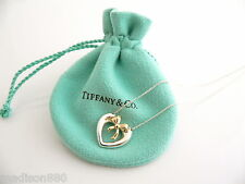 Bow Necklace Pendant Charm 18 In Chain Tiffany & Co Silver 18K Gold Heart Ribbon