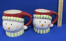 2 Ceramic Coffee Cups Hot Chocolate Whimsy Snowman Christmas Winter Target