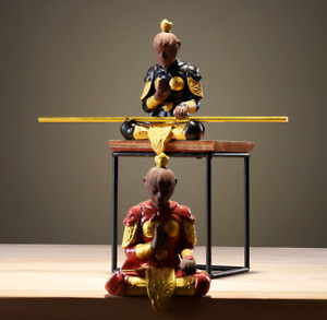 4PCS Chinese Porcelain Ceramics Handcraft Monkey King Sun Wukong Tea Pet Statue