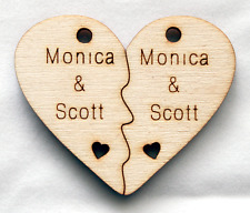 Personalized Custom Wood Name Couples Love Split Heart Necklace Pendant Label