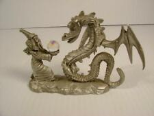 Vtg 1986 Spoontiques Pewter Dragon W/Crystal Ball & Wizard. Cmr631