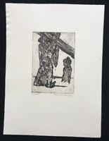 Hilmar Friedrich, Kreuzfall, Radierung, 1962, handsigniert und datiert