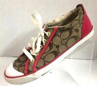 COACH Women's Barrett Fashion Shoes Sneakers Brown Pink Classic Canvas Size 7B