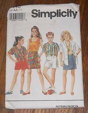 Simplicity 8446  Girl's Shorts Skirt Tank Top Shirt Pattern Child sz 7 - 10