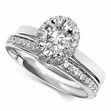 10k White Gold 2.25 Ct Moissanite Engagement & Wedding Ring Set Bridal