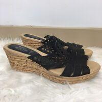 Spring Step Women's Black Cut Out Cork Wedge Heel Summer Sandals Size 9
