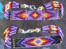"2, Nice & Wide Handmade Navajo Indian Beaded ""Secure Clasp"" Bracelets 8"" Barber"