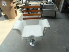 Padded boat chair w/ big game gimbal with chair cover.  White color with base.
